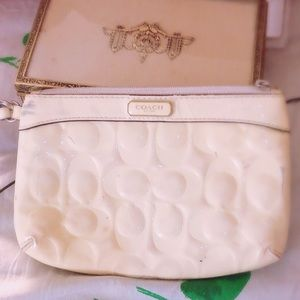 Coach wristlet purse white